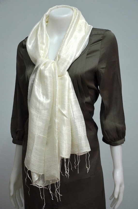 xx27x69 Two Tone Total White Natural Genuine Pure Thai Raw Silk Scarf Shawl Wrap SK812