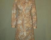 Tie Neck Secretary Dress Vintage 1970s Honeycomb Brand