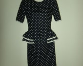 Stuart Alan 1980s Navy Blue Polka Dot Double Peplum Skirt Suit