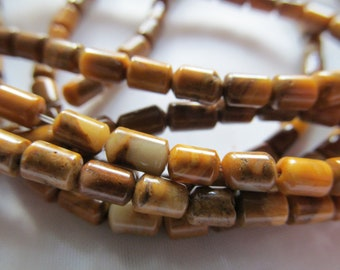 Gold Lace Agate gemstone short tube beads 14 inch strand