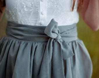Grey Pocket Skirt with Bow