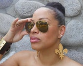 Fleur de Lis // Louisiana Saints // Afrocentric // Natural Wood Hand Stained Earrings // African and Caribbean Inspired Jewelry