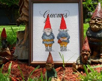 Gnome  cross stitch needlecraft art completed