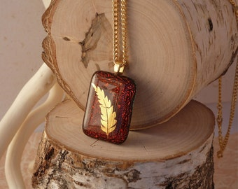 Red fern fused glass pendant