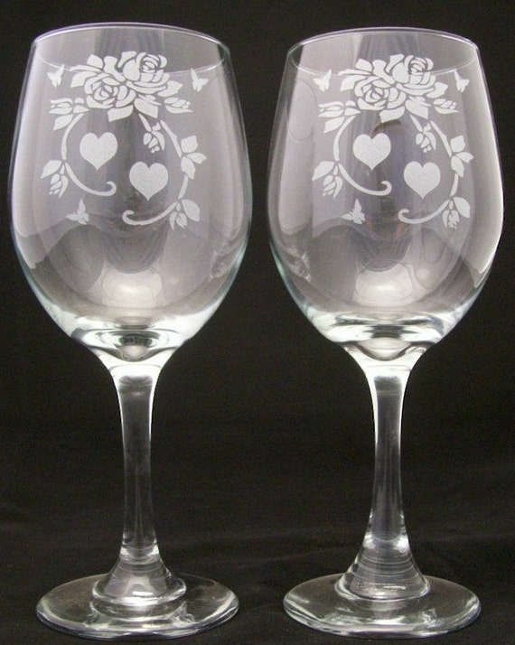 Items similar to rose and hearts etched wine glasses for Etched glass wedding gifts