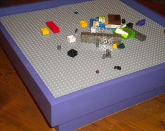 "Play Table for LEGO® Bricks with 15""x15"" baseplate.  Storage table for LEGO Bricks.  Portableplay station for LEGO Bricks.  Travel Set."