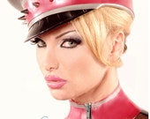 Studded Latex Military Cap/ Hat