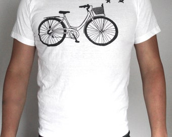 Bicycle T-shirt, gift for men, shopper bike tee, vintage cyclist shirt, gift for him, hipster men style