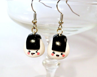 Kawaii Onigiri Earrings, Cute :D Choice of Sterling Silver Hooks!