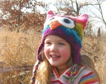 Rainbow Crochet Owl Hat, Kids Crochet Owl Beanie, Rainbow Owl Hat, Rainbow Winter Hat, Crochet Striped Owl Beanie