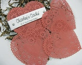 "French Lace 4"" Red Doilies Heart Shape Doily's Qty 25"