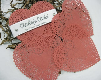 """French Lace 4"""" Red Doilies Heart Shape Doily's Qty 25"""