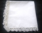 Wedding Handkerchief/Bridesmaid hanky/ Crochet edged handkerchief for  embroidery