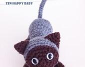 Grey Siamese Amigurumi Kitten, Stuffed Toy Cat Amigurumi