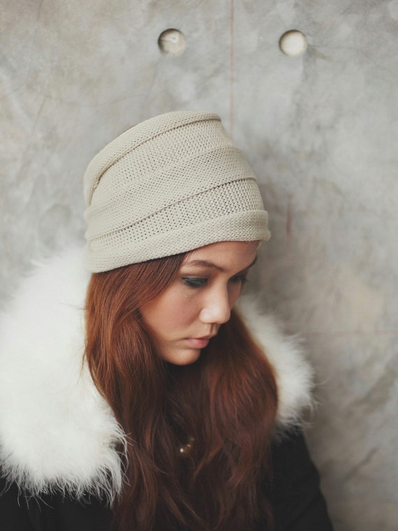 Knitted Headband Patterns Wide : Items similar to Wide Striped Knit Headband - Ivory white ...