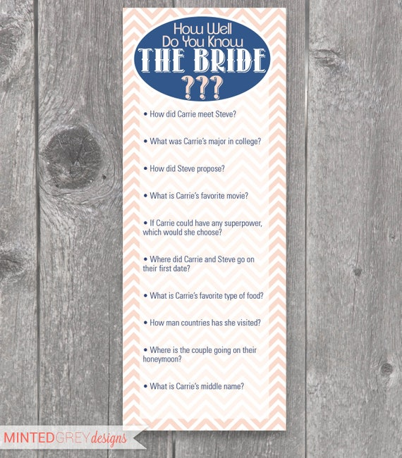 Items Similar To Printable Chevron Bridal Shower Game On Etsy
