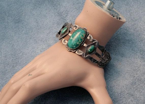 Spectacular Vintage Navajo Turquoise and Sterling Silver Ingot  Bracelet