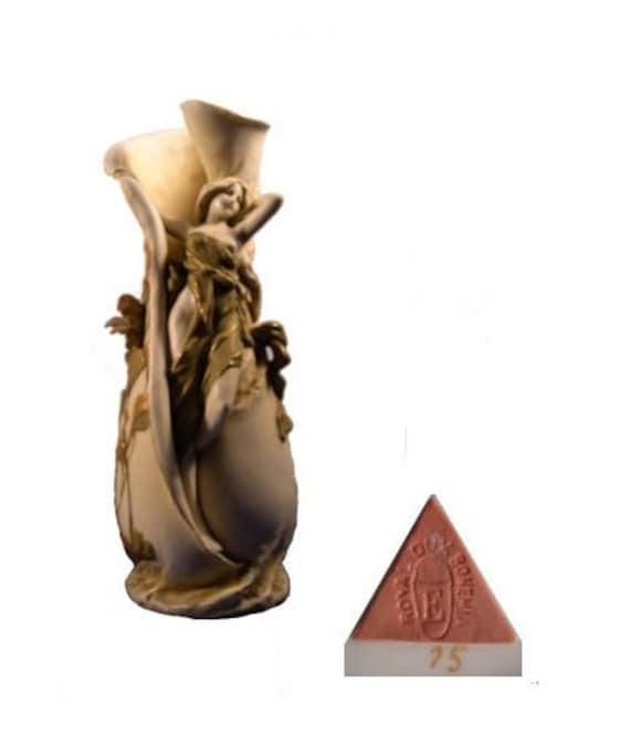 Antique Porcelain Royal Dux Bohemia Art Nouveau Nymph Vase