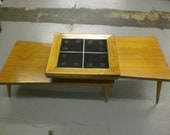Mid Century Modern Tri-Level Coffee Table with Zodiac inlay Tiles