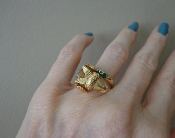 Diamond Enamel Gold Rams Head Ring