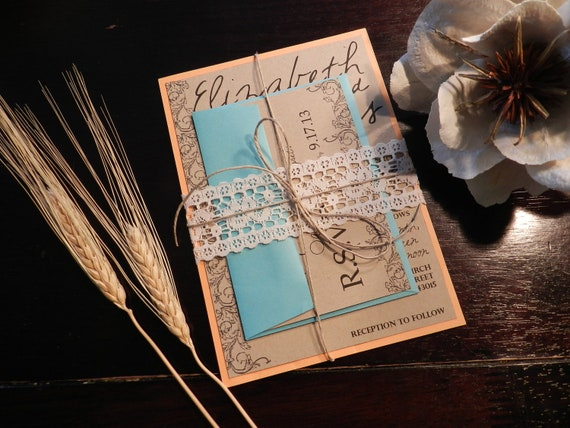 Coral And Teal Wedding Invitations