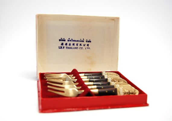 Thailand Siam cocktail forks set of 6 in original box Vintage