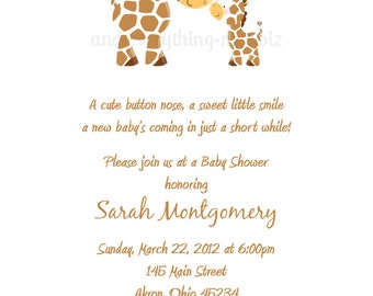Giraffe Baby Shower Birthday Invitations | Custom Design | Professionally Printed Card Stock | Boy Girl Twin Sibling Stationery Best