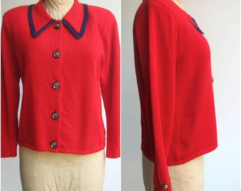 Vintage Cardigan with Collar / 1980s Red sweater with Navy detail