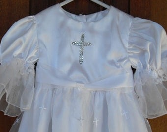 Christening/baptism gown with organza over skirt with crosses