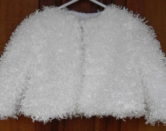 White, soft and fluffy baby girl jacket