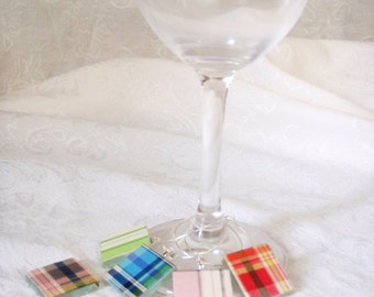 Plaid Pattern Wine Charms - set of 8