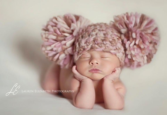 reserved READY Baby Girl Hat LAST ONE Newborn Baby Girl Crochet Knit Chunky Pom Pom Hat Cream, Brown, pink  Photography Prop Valentines Day
