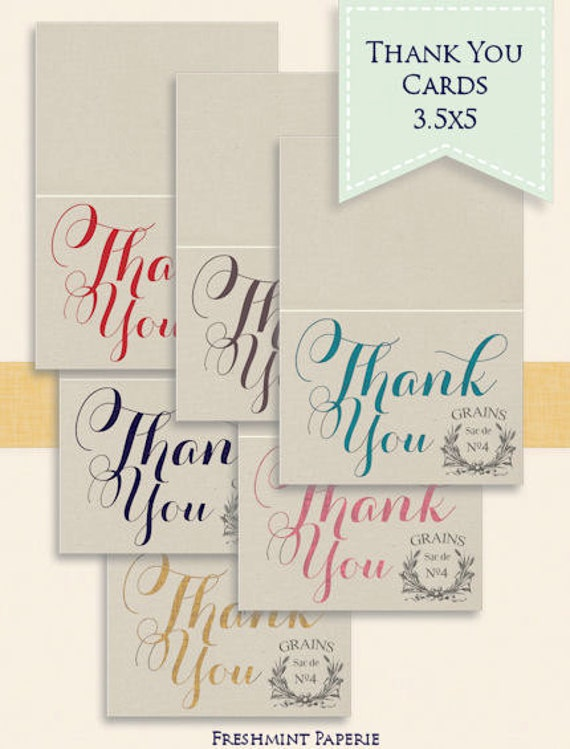 Items Similar To Printable Thank You Cards Calligraphy