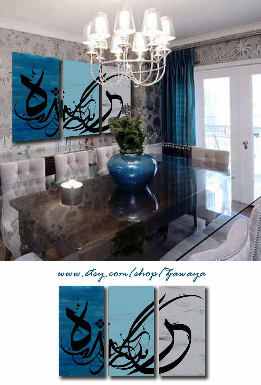 Navy blue gray black painting home decor arabic by Zawaya on Etsy