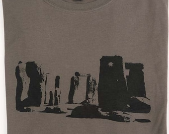 SALE-Stonehenge Mens printed cotton T shirt Khaki