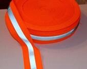 Reflective Ribbon, Silver and Neon Orange, ribbon tape fabric