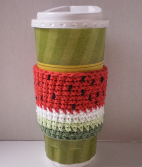 Watermelon Coffee Cozy -- Hand Crafted