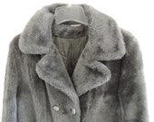 Vintage 1960s Mod Womens Grey Silver Faux Fur Peacoat by Sears Size 14 Large