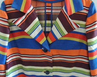 Vintage 1960s Womens Mod Multi Colored Stripe Mid Length Jacket Size Large