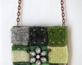 green felted wool necklace