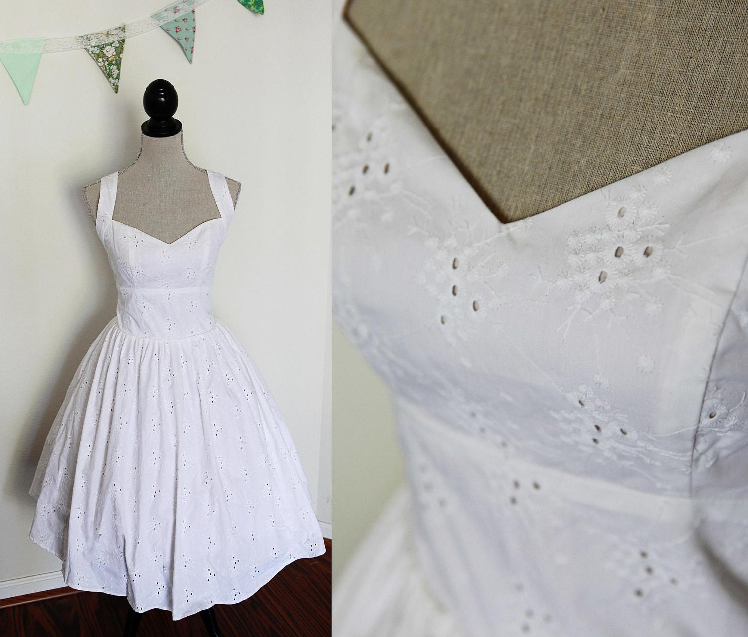 Short wedding dress pin up style cotton eyelet by pennypardy for Wedding dresses pin up style