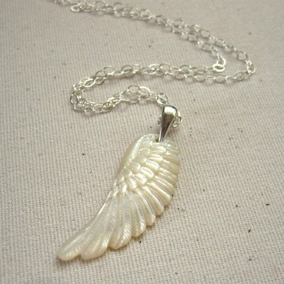 Mother Of Pearl Left Angel Wing Decor: Angel Wing Necklace Carved Mother Of Pearl And Sterling By