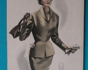 Mid Century original French Fashion Tailor illustration clothing design women costume