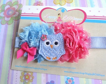 Blue Pink Owl Baby Girls headband / Blue and Pink Shabby felt Owl Girls headband / Baby Headbands / Baby Photo Props