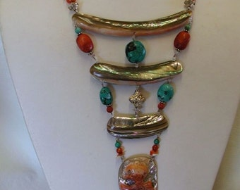 ABALONE One Of A Kind STERLING Turquoise, Coral NECKLACE