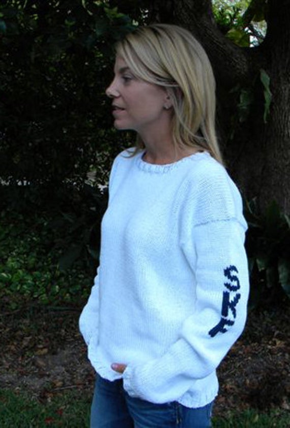 Personalized gift - Woman's hand knit sweater with name or initials
