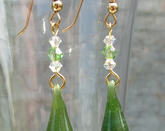 Jade Green Glass Drip Earrings with Swarovski Crystals on Gold Filled hooks, Lampwork, Handmade