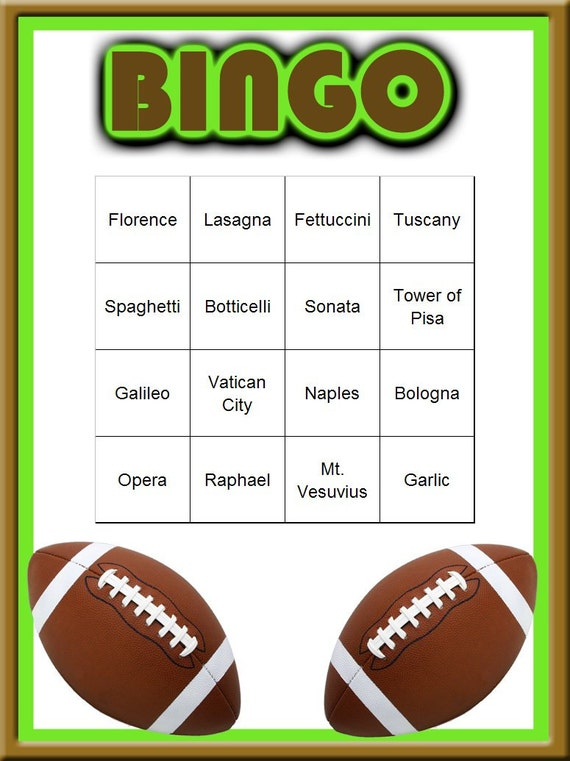 Football Themed Bingo Set
