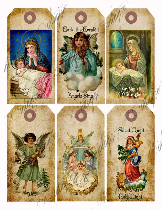 Religious Christmas Tags DOWNLOAD Printable Vintage Victorian Angel ...