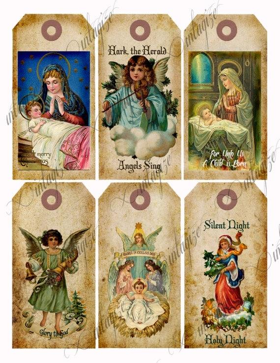 ... Printable Vintage Victorian Angel, Nativity Christmas Gift Tags